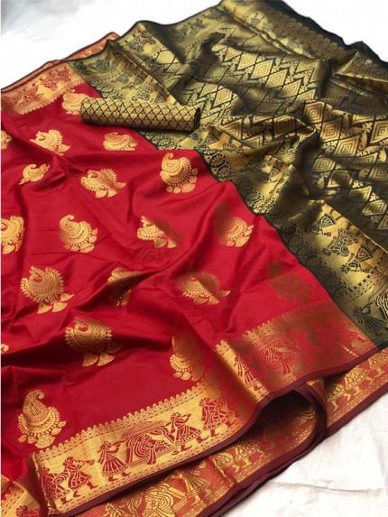 Pretty Look Red Color Banarasi Silk Saree with Zari work