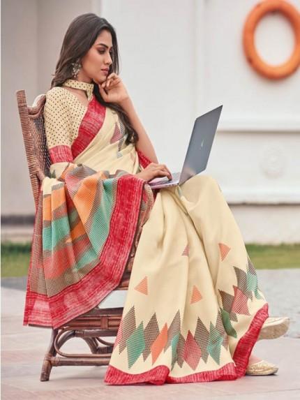 New Eye Catcher Cream Color Linen Crep Silk Printed Saree