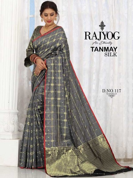 New Trending Grey Colour Soft Weaving Cotton With Jequard Border Saree