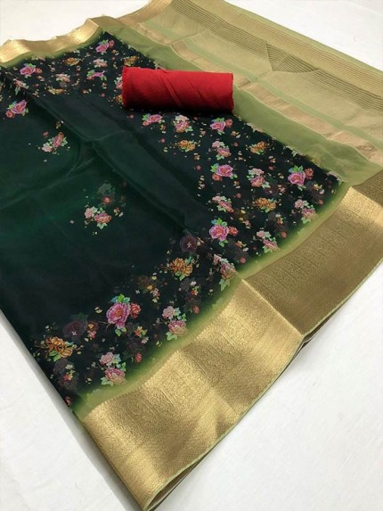 Trending Multi color Organza Silk Saree with weaving Border