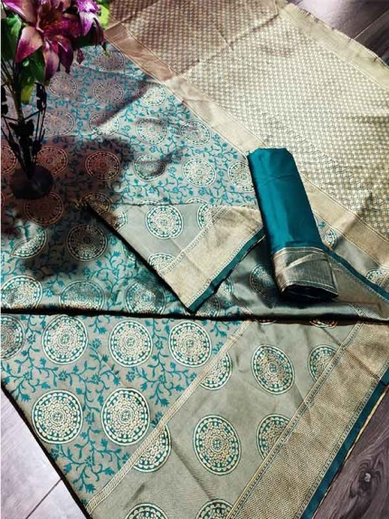 Multi Color Banarasi Weaving Soft Silk Saree With  Rich Heavy Border With All Over Butti Weaves