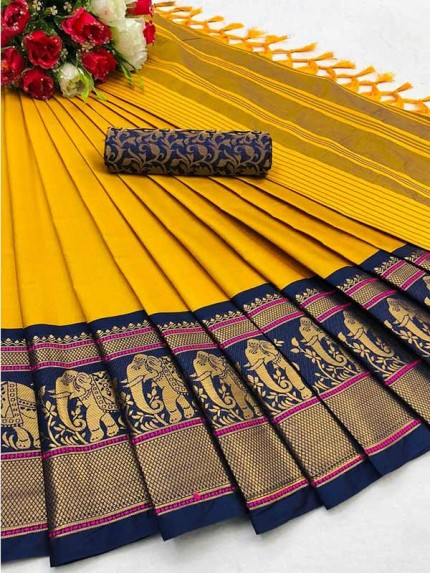 Elegance Look Multi Colour Cotton Silk Saree with Broad contrast border