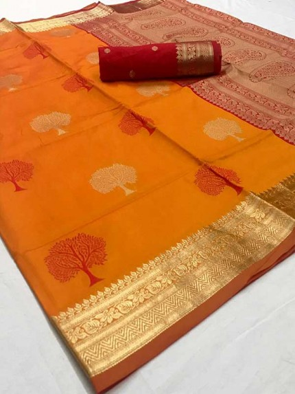 Latest Traditional Look Golden Color Soft Silk Weaving Saree
