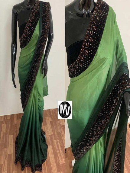 Wedding Season Green color Rangoli Silk Fabric with machine stone diamond work Saree