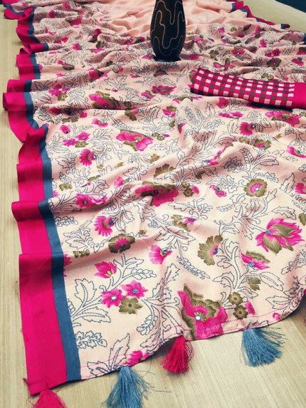 Beautiful  Multi Color Tusser Manipuri Silk With Mirror Work Saree