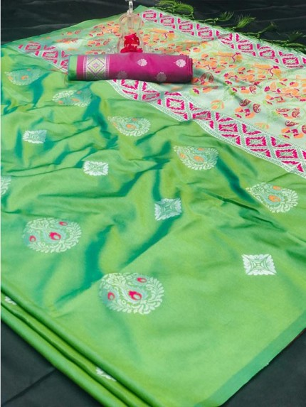 Attractive Look Green Color Lichi Silk Saree with meena and heavy rich pallu