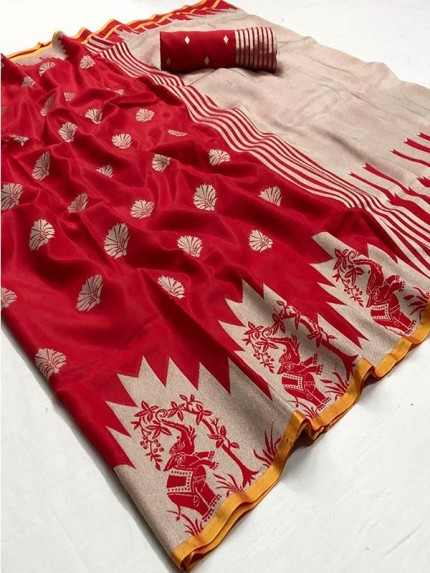 Navratri Speacial Red Colour Soft Silk weaving Saree