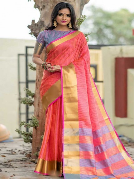 Graceful combination Pink Color Soft Art Silk Weaving Saree With Zari Woven Border