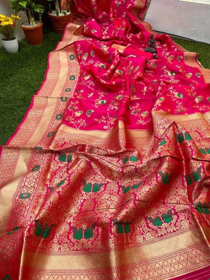 Pink Color Pure Banasari Silk Saree With Rich Heavy Zari Pallu
