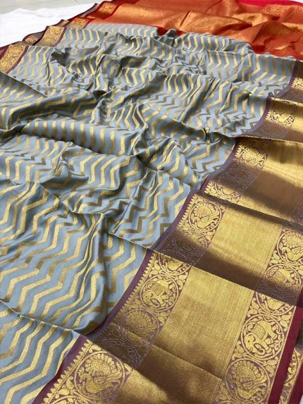 Attractive Look Grey Colour Kanchipuram style Banarasi Silk weaving saree with beautiful zari work