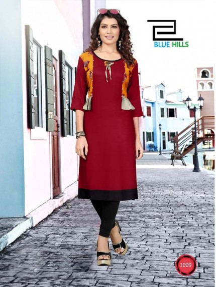 Maroon color Heavy Rayon Printed Kurti With Hand Work