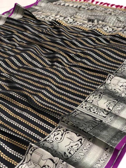 Festival Look Black color Pure Jacquard Resham zari work Saree