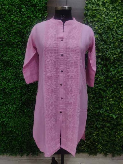 Purple color Heavy Rayon Kurti With Same Color Lace