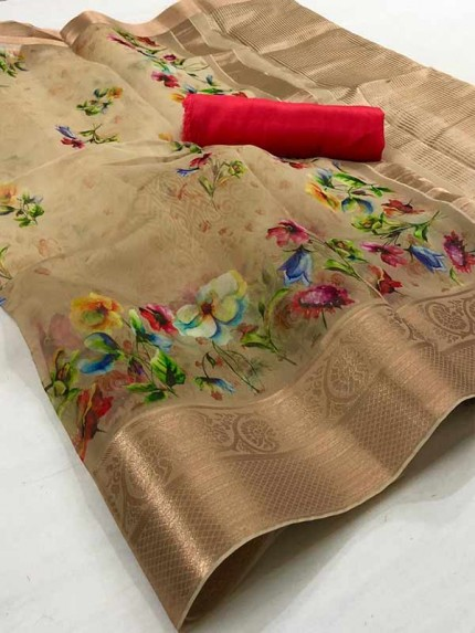 Trending Beige Colored Pure Organza Saree