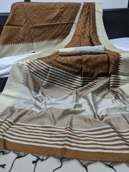 Beautiful Brown Colour Handloom Raw Silk Saree With Embroidered Cut Work All Over