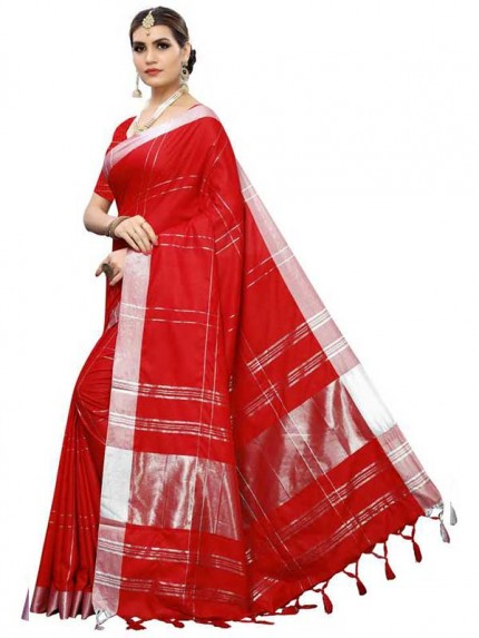 New Trending Red Color Linen Cotton Silk Printed Saree