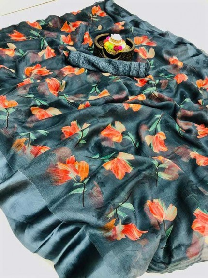 Beautiful Multi Color Chiffon Fabric  Saree with Blouse