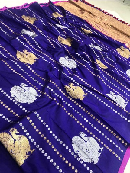 Attractive Look Blue Colour Kanchipuram With Golden And Sliver Pure Zari Saree