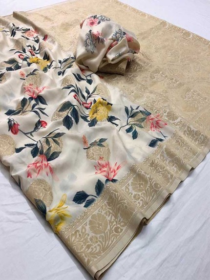 New Eye Catcher Off White Color Soft Silk With  Digital Print Saree