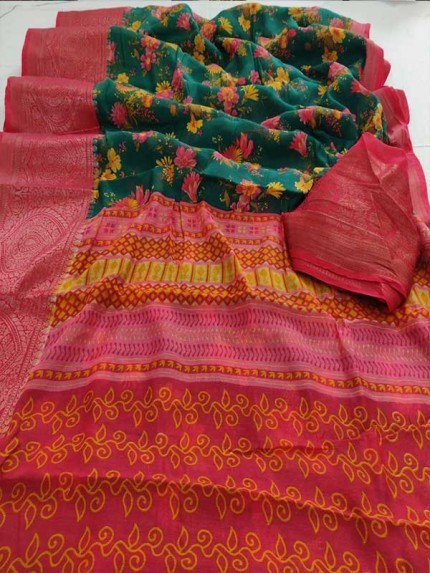Stunning Multi Color Soft Linen with Jacquard Saree