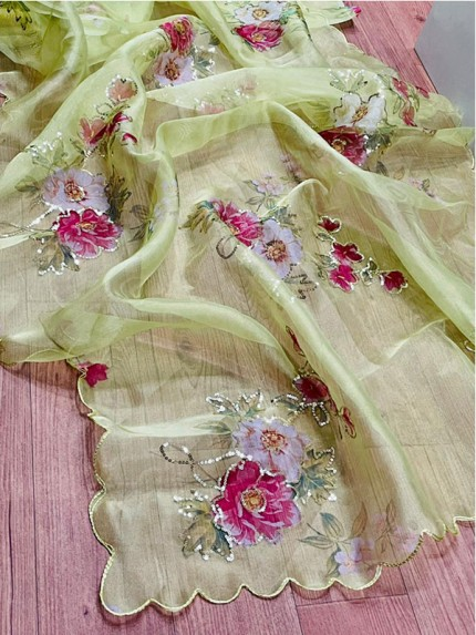 Beautiful Soft Pure Organza Sequence Work Sarees For Your Upcoming Festive