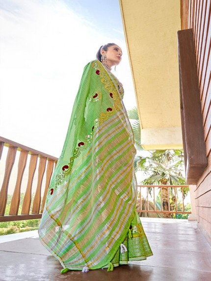 Stunning Green Color Soft linen with Beautiful Gotapatti Border Saree