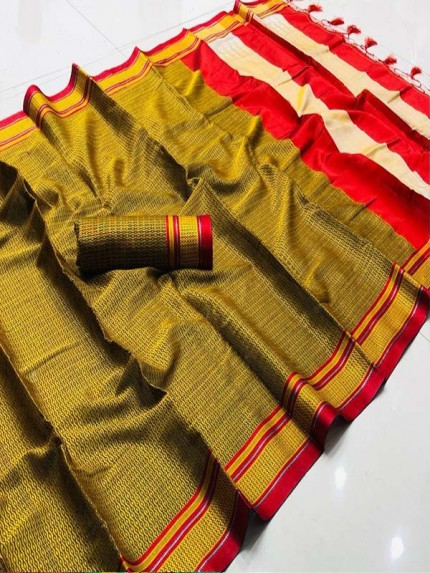 Superb Trending Multi Color Soft Khann Saree with Running Blouse