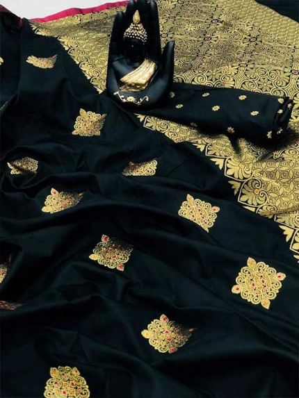 Attractive Look Black color Banarasi Handloom Weaving Silk Saree
