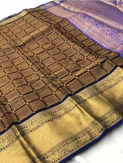 Attractive Look Brown Colour Banarasi Silk With Beautiful Zari  Work
