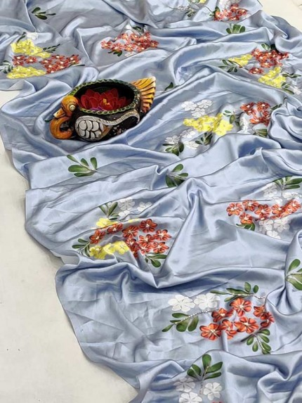 Pure Soft Japan Silk Saree With Beautiful Floral Print Nd Hand Work Khatli With Ciramic Butti In All Over Saree