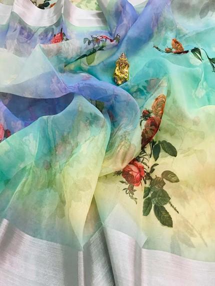 Multi Colored Beautiful Organza Silk Branded Saree