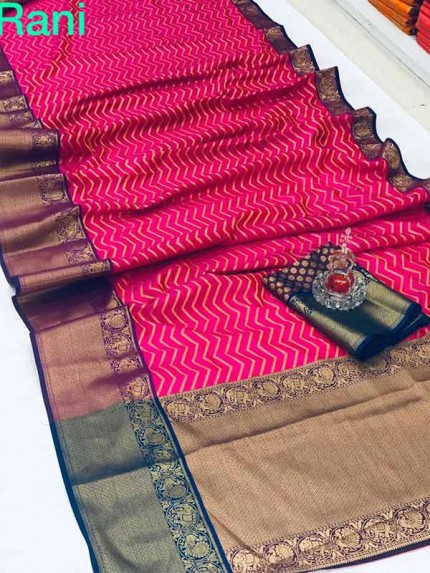 Rani Colour Kanchipuram style Banaras weaving Silk Saree with Golden zari Border