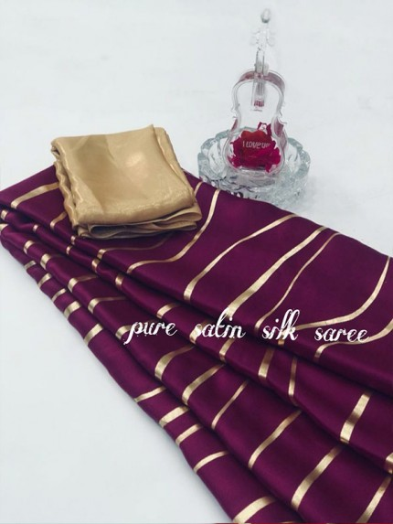 Classic Look Purple Color Pure Satin Silk With Floral Print Saree