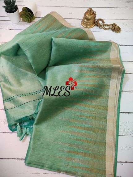 Soft Raw Tissue Silk Sarees With Temple Woven Dual Shade p