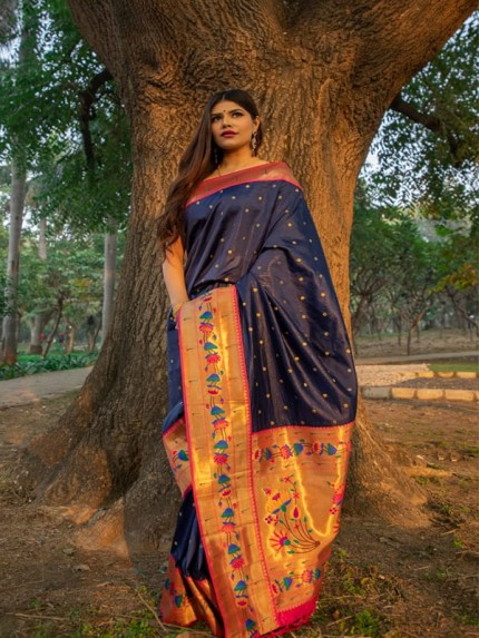 Rich Look Blue  Colour Patch Weaving Border With Soft Silk Saree