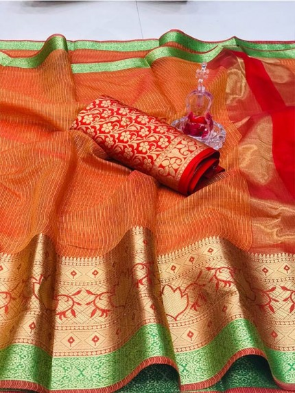 Graceful Look Multi Color Heavy Manipuri Soft Cotton Silk Saree