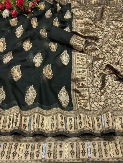 Traditional Multi Color Soft Cotton Silk with Jacquard work on Saree