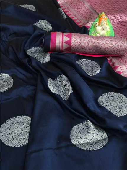 Beautiful Look Blue Color Lichi Silk weaving Jacquard Saree