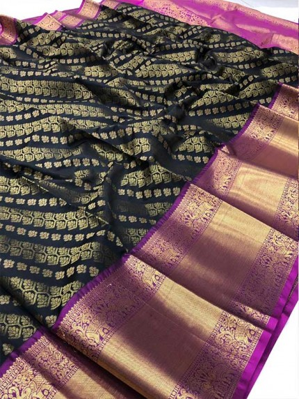 Attractive Look Black Colour Kanchipuram style Banarasi Silk weaving saree with beautiful zari work