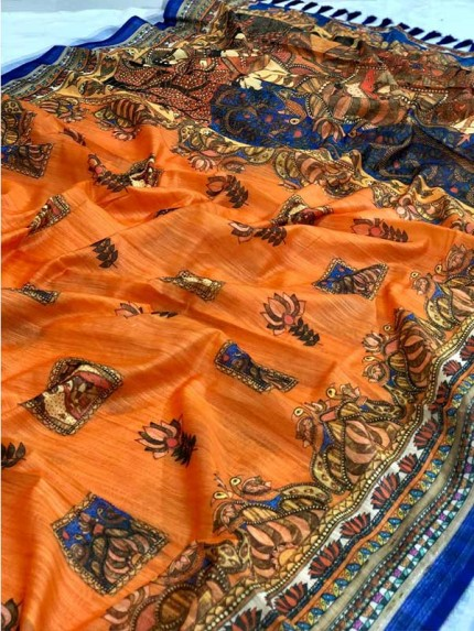 Unique Style Orange Color Soft Linen Digital Printed Saree
