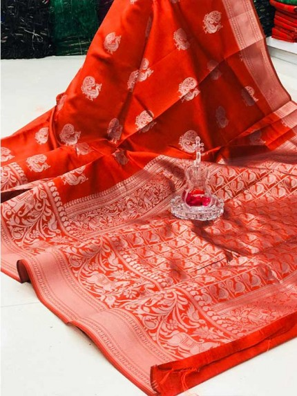 Elegance Look Orange Color Soft banarsari Silk Saree With  weaving work