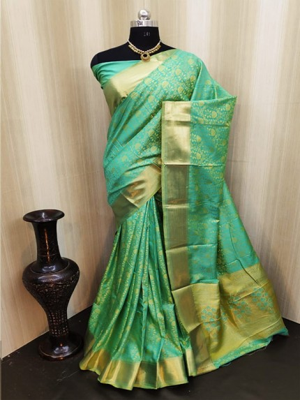 Classic Look Green Color Satin Silk Saree With AllOver weaving work