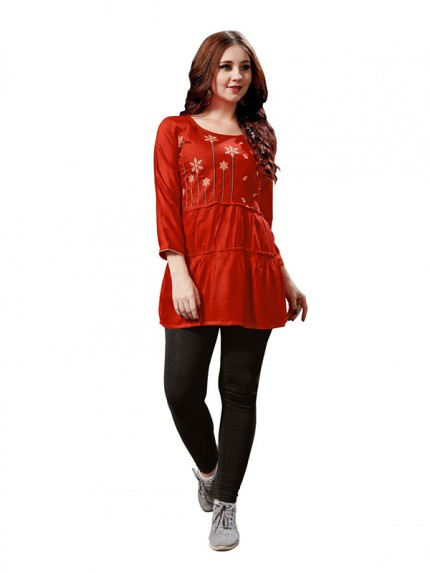 Summer Special Red color Heavy Rayon Slub Top