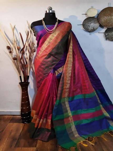 New Eye Catcher Pink Color Raw Silk Saree With mutli color border