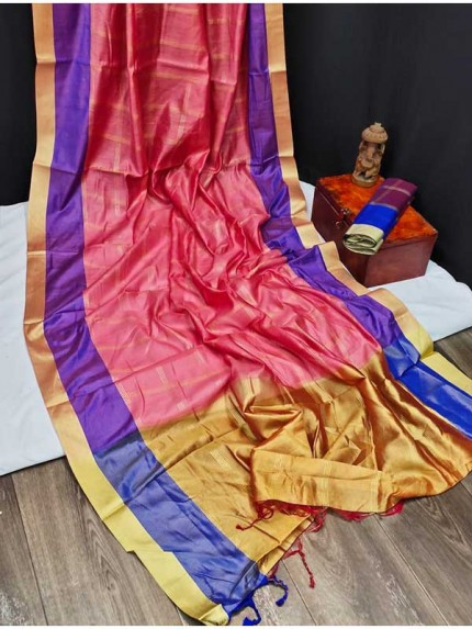 Chanderi Cotton Weaving Saree With Zari Checks Weaves All Over
