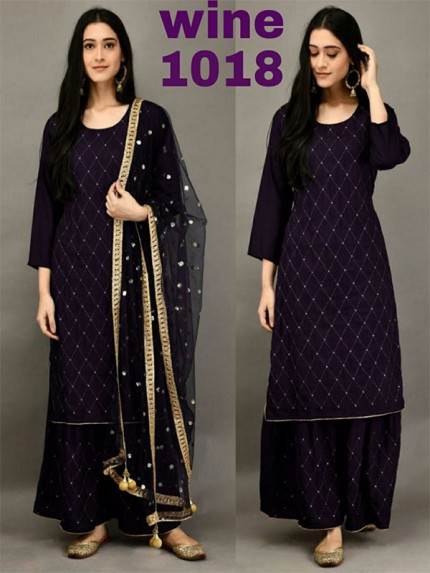 Wine Color Havy Rayon Cottan With Mirror Embrodery Work