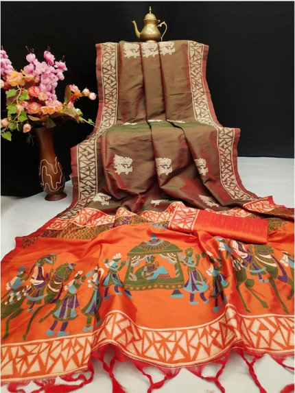 Brown Colour Soft Raw Silk Two Tone Weaving Saree With Antique Design