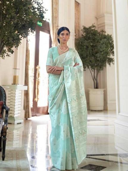 Stunning Look Cyan Colour  Modal Chikankari Weaving Saree
