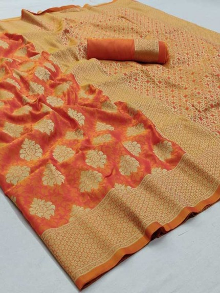 Orange Colored Beautiful Soft Silk Weaving Designer Saree