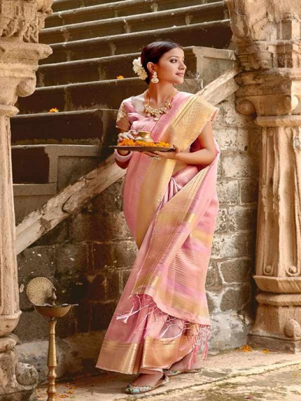 Pretty Look Peach Color Soft Tissue Zari With Doube Blouse Saree
